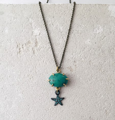 Turquoise cabochon pendant with starfish