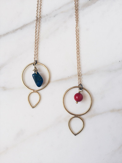 Circle and drop necklaces, brass + gemstones