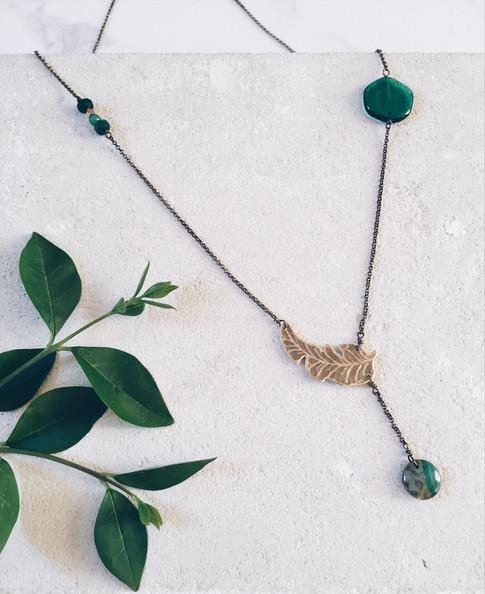 Banana leaf necklace, green gemstones