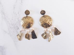 Statement chandelier earrings OOAK, freshwater pearls