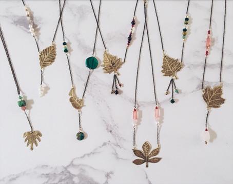 Banana leaf necklace, brass + green gemstones