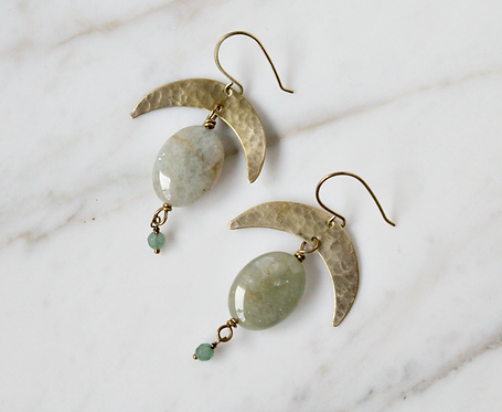 Boho crescent moon earrings, green aquamarine & aventurine gemstones