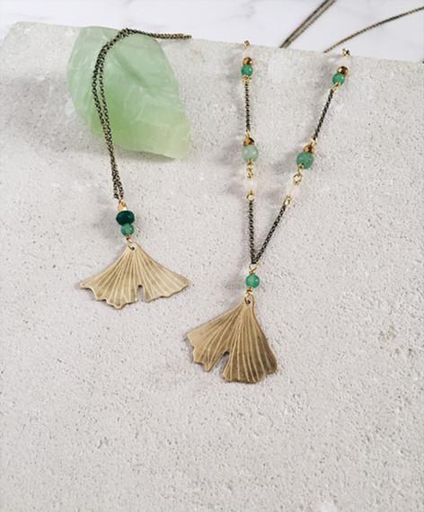 Ginkgo Biloba necklaces, brass and green gemstones