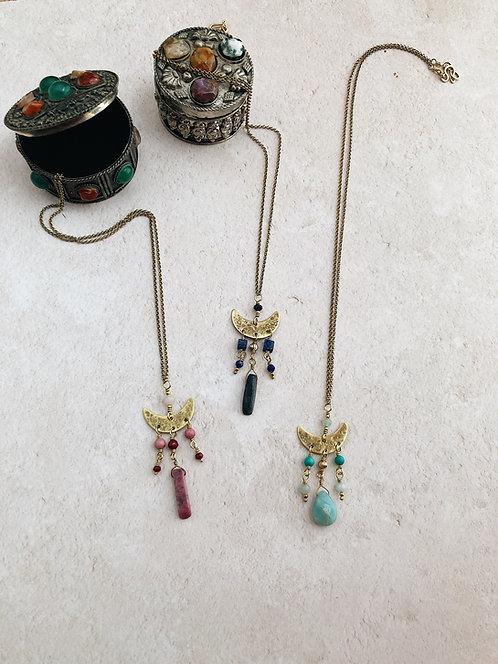 Crescent moon chandelier necklace, brass moon pendant and gemstones