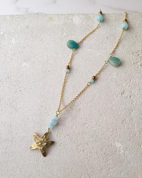 Starfish seastar necklace, brass, amazonite, blue quartz, golden hematite