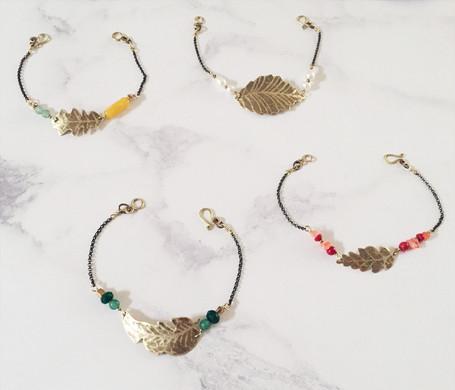 Leaf bracelets, brass and gemstones