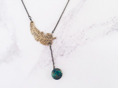 Tropical palm leaf necklace, forest green gemstones