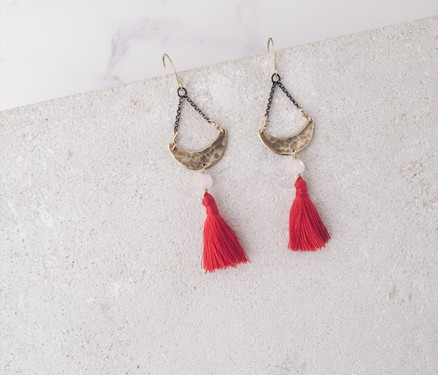 Crescent moon tassel earrings