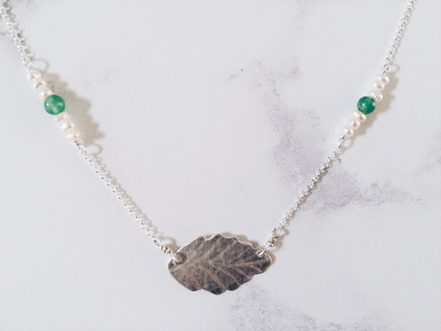 Ash leaf necklace, silver + white and green gemstones