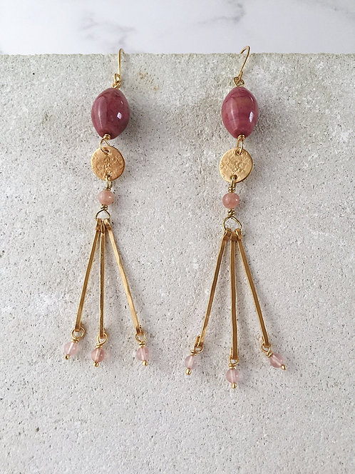 22kt GOLD PLATED modern abstract long earrings, pink rhodonite & pink glass