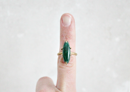 Malachite ring, brass