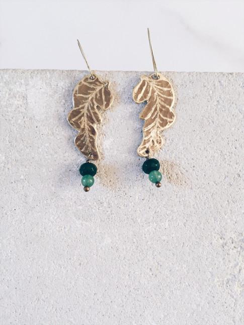 Banana leaf earrings, green gemstones