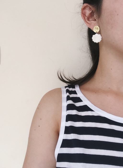 Brass and shell earrings