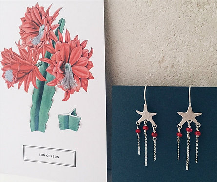Silver starfish earrings, red bamboo coral and silver fringes