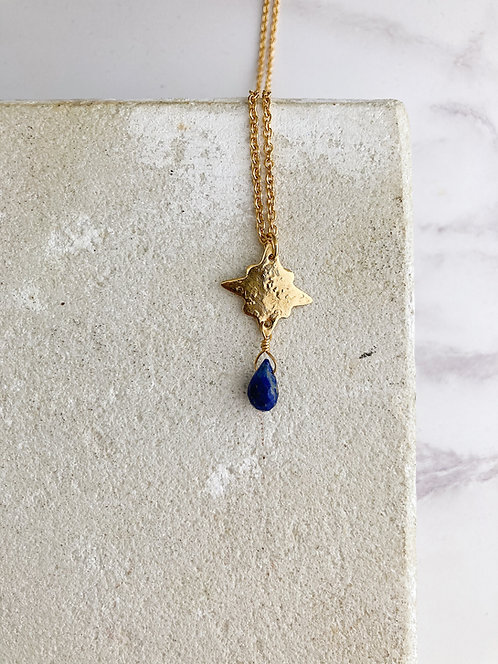 Pole star pendant necklace, blue lapis lazuli, simple brass or 22kt gold plated