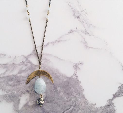 Crescent moon necklace, aquamarine & pyrite