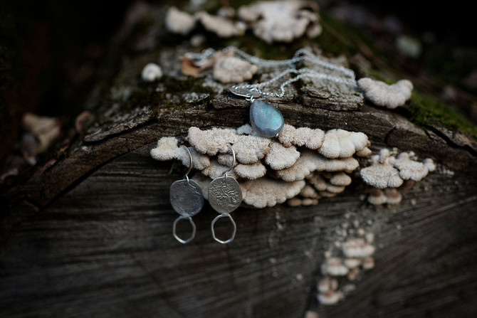 Sterling silver earrings + necklace, earth and bark inspired