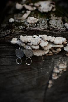 Sterling silver bark earrings