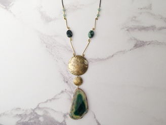 Earth's Heart ooak necklace, brass, agate slice, african turquoise, aventurine