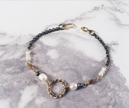 Small New Moon bracelet, brass & white freshwater pearls