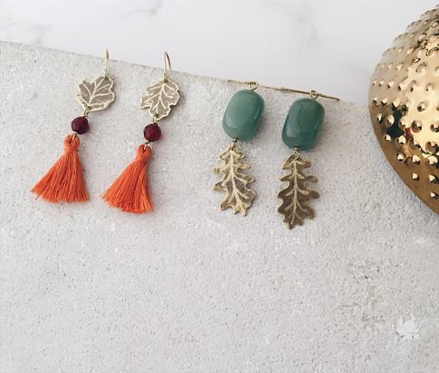 Sycamore leaf tassel earrings, English Oak earrings