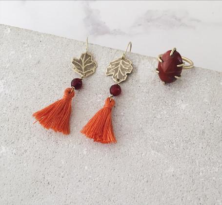 Sycamore leaf tassel earrings, jasper ring