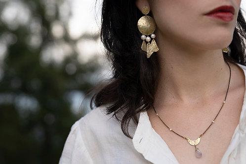 Statement tribal chandelier earrings, brass & white freshwater pearls