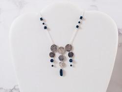 Silver and lapis lazuli coin necklace, Alma Series