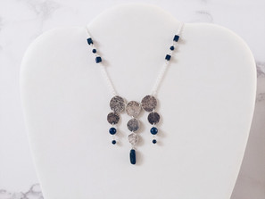 Silver and lapis lazuli coin necklace, Alma Series
