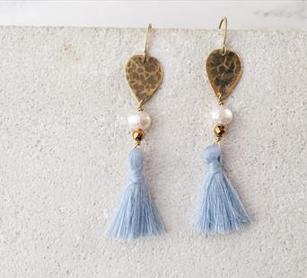 Wind Whistle earrings - blue tassels, freshwater pearls, golden hematite