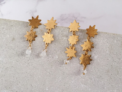 North Star earrings - 22kt gold plated brass