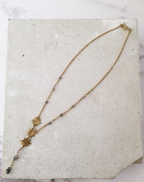 Three Stars constellation necklace, brass labradorite herkimer diamonds