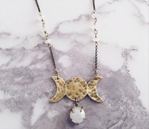 Triple goddess necklace, moonstone