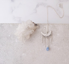 Sterling silver cascade moon necklace