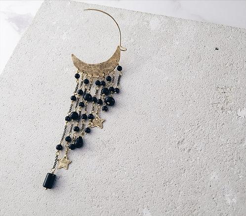 Single crescent moon earring, black onyx statement cuff earring, cascade