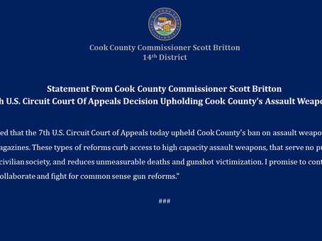 Statement From Cook County Commissioner Scott Britton on 7th U.S. Circuit Court Of Appeals Decision