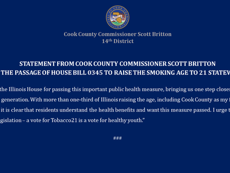 Commissioner Scott Britton Statement on House Bill to Raise the Smoking Age to 21