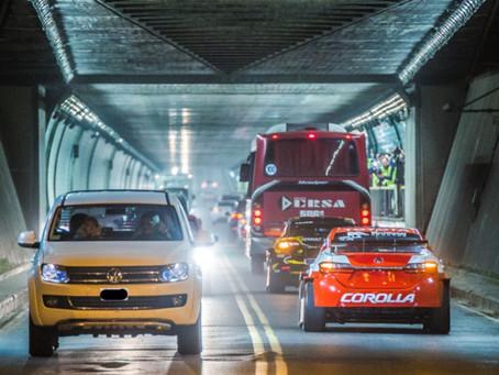 Operativo de tránsito en en el Túnel Subfluvial por el partido Colón - Atlético Tucumán