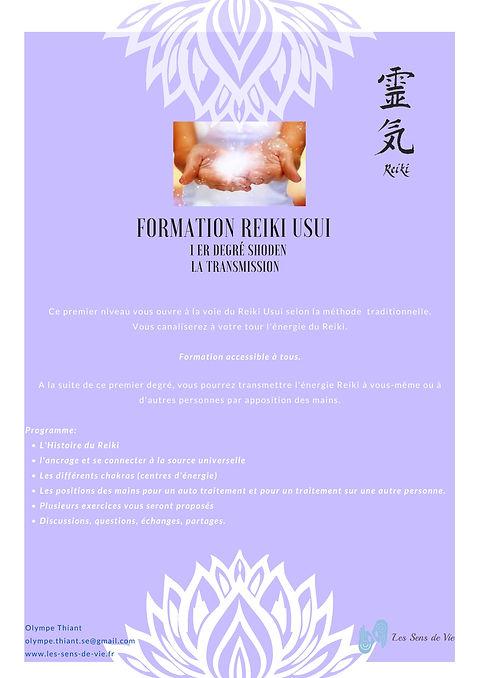 Formation Reiki 1- Reiki Usui niveau 1