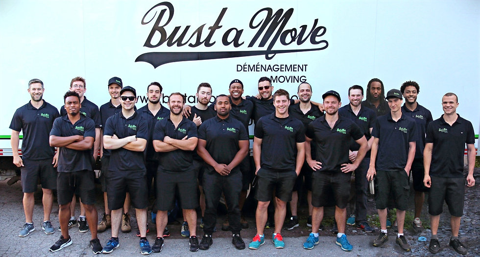 Team photo of the Bust a Move Moving crew. Our team of movers eagerly awaits to serve you with great customer service. Whether your move is big or small, we do it all and take every job seriously.  These gentelmen are true professionals at what they do!