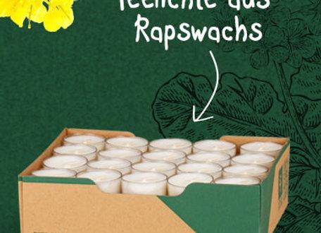 Naturelights - Teelichte vegan aus Rapswachs