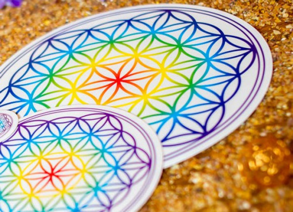 Aufkleber Lebensblume farbig