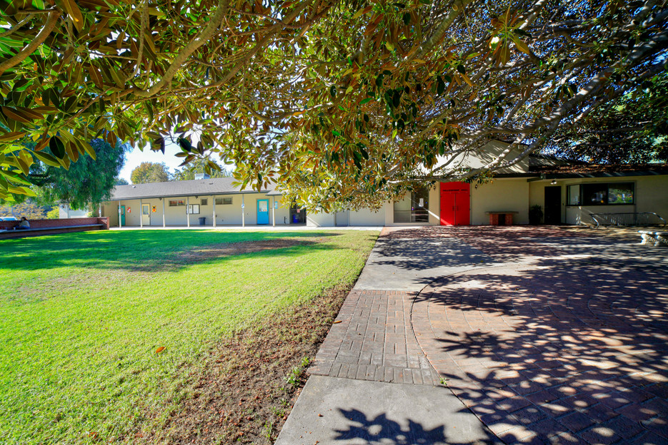 Large grassy area in front of the school.  We use this space for circle time, lunch, outdoor movement and yoga.