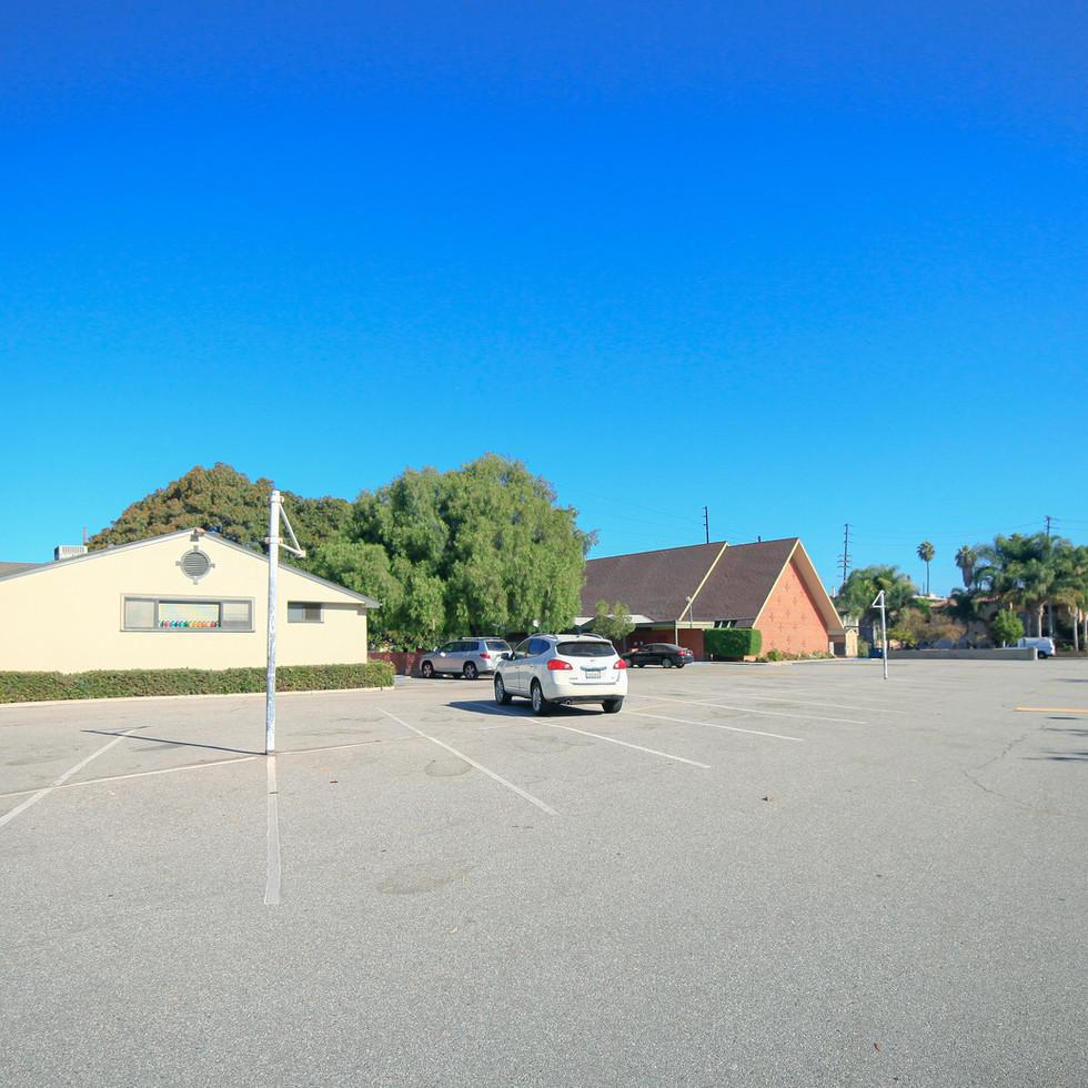 Parking lot in front of St. John's Nursery School
