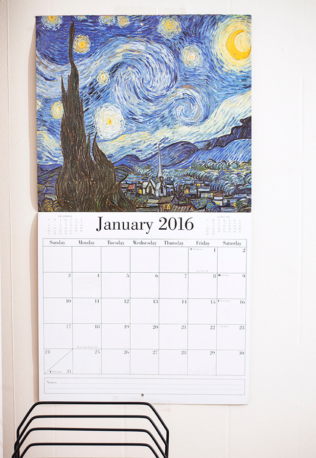 Fine art calendar I picked out for the new year!  The only way I can keep everything organized!