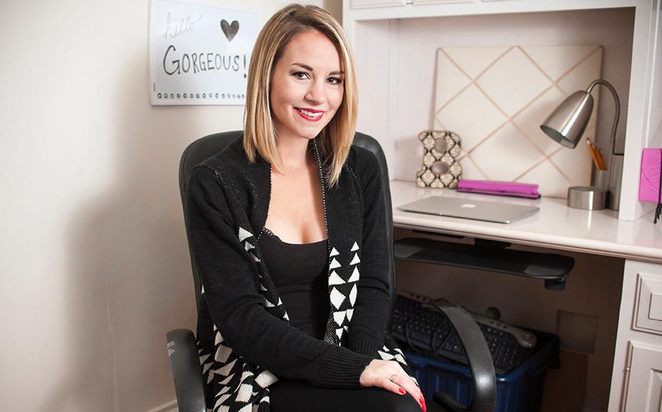 Rebecca Sheets in her office in Utica, NY.