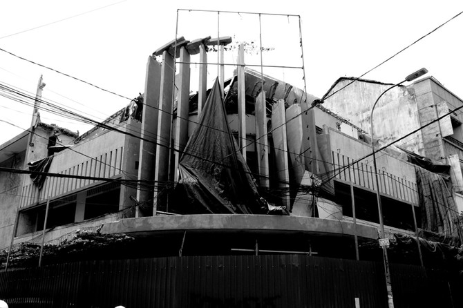 Perception 126: Torn Billboard On Structure, Cambodia
