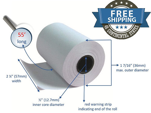 Clover Flex Mini and Mobile 2 1/4 x 55 Thermal Paper Rolls (10 rolls)
