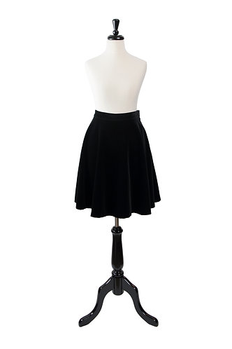 Vintage Velvet Black Flared Skirt