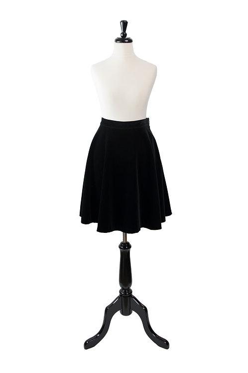 Vintage Velvet Black Flared Skirt